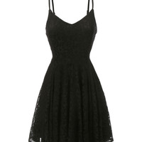 LE3NO Womens Sleeveless Floral Skater Dress with Adjustable Straps (CLEARANCE)