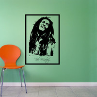 Bob Marley Wall Decal Framed Large 17 x 25 Inches