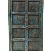 Indian Blue Patina Armoire Cabinet 3 Shelves Antique Old World Furniture