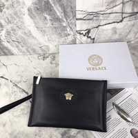 Versace  men Leather Shoulder Bag Satchel Tote Handbag
