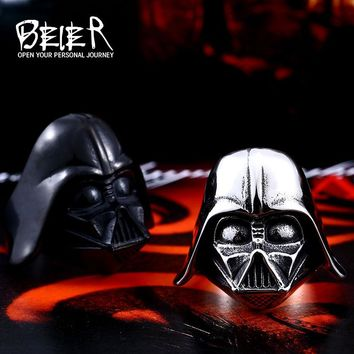Beier Star Wars Darth Vader mask shape ring Jewelry High Quality 316L STAINLESS Steel LLBR8-202R US size