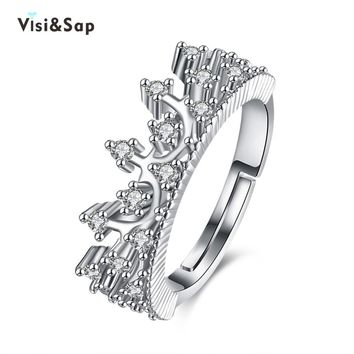 Visisap Palace King & Queen Crown Acceorises Open Rings For Women Men Valentine's Gifts Fashion Jewelry DropShipping VLKR947