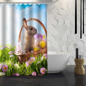 Easter Basket Rabbit On Garden Bunny Shower Curtain