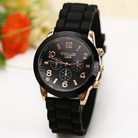 WoMaGe Quartz Watch 6 Numbers and Rectangles Indicate Rubber Watch Band Asst. Colors
