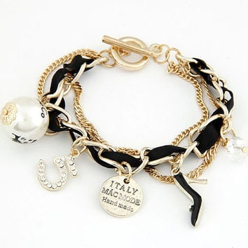 New 2014 Fashion Gold Chain Charms bracelets bangles Pearl ITALY MA MODEL 5 Imitated Gemstone Jewelry pulseiras Bracelet Women