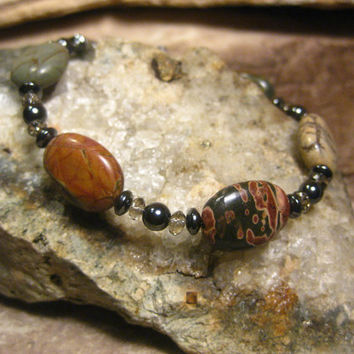 Picasso Jasper Gemstone Bracelet with Hematite and Crystals, Gifts for Her from The Hidden Meadow
