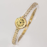 Women's tiny watch bracelet Seagull, delicate women's watch gold plated, cocktail watch for women, round case women watch mechanical gift