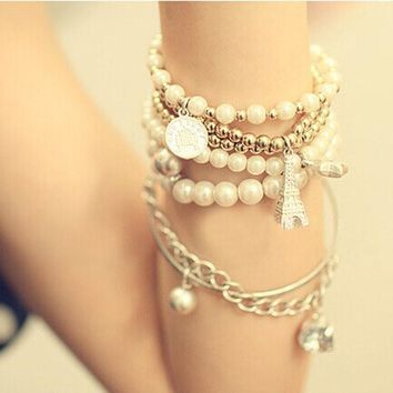 6PCS/Set Women Multilayer Acrylic Beads Bangle Bracelets Beach