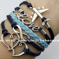 Infinity&Heart To Heart,Love,Airplane Bracelet Navy Blue Wax Cord And Light Blue Leather Braid Cute Personalized Jewelry Best Gift.-T133