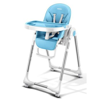 Portable /Foldable Baby Highchair /Adjustable Booster Seat For Dinner Table With Four Wheels