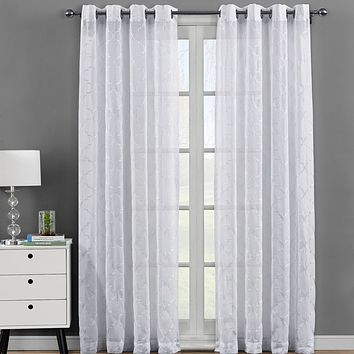 Pair (Set of 2 ) Embroidered Grommet Top Sheer Panel Curtains -Miller