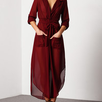 Red Deep V Neck Self-Tie Pockets Chiffon Dress