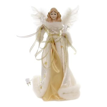 Tree Topper Finial GOLD/CREAM ANGEL TREE TOPPER Lighted Electric Plug In Ul2216