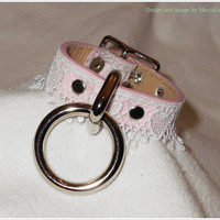 Daddy's Little Bondage Cuff - Pink Vegan Leather and Heart Lace BDSM Handcuffs