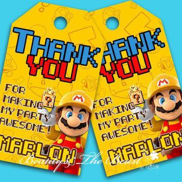 Super Mario party nes switch Customized Personalized  Favor Tags Thank You Tags Favors Birthday Party Decorations Kids Party Supplies Candy Bar AT_80_8
