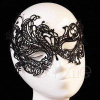 Vintage Black Women Elegant Prom Party Dress Lace Eye Face Mask Masquerade