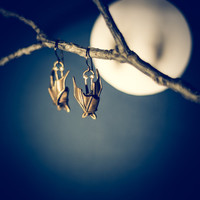 Precious Handmade Sleeping Bat Earrings In Solid Sterling Silver or Bronze