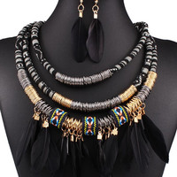 Black Feather Ring Multilayer Necklace And Earrings Set