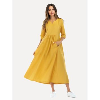 Plus Size Yellow Hidden Pocket Flare Dress