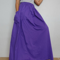 Women Maxi Violet Long Skirt , Casual Gypsy, Bohemian , Cotton Blend In Purple (Skirt *M15).