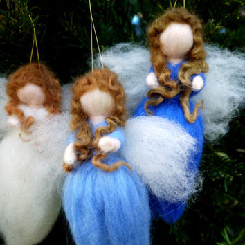 Felt christmas tree ornament. Set of 3 needlefelted angels. Felted angel. Wool fairies christmas tree. Waldorf christmas ornaments.