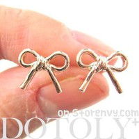 Classic Bow Tie Ribbon Knot Shaped Stud Earrings in Rose Gold
