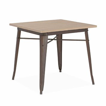 Dreux Wood Steel Dining Table 30 Inch Rustic Matte