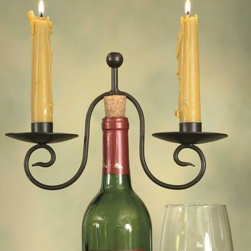 Two Candle Wine Bottle Candle Holder