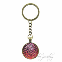 Fire Dragon Egg Glass Photo Cabochon Pendant Dragon Egg  Painting Key Chain Game of Thrones Inspired Keychain Jewelry Accessorie