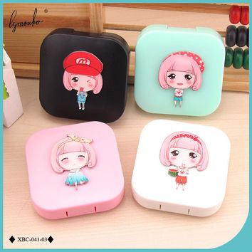 Lymouko New Design Cartoon Dream Girl Contact Lens Case with Mirror Lenses Container Box for Lovers Gift