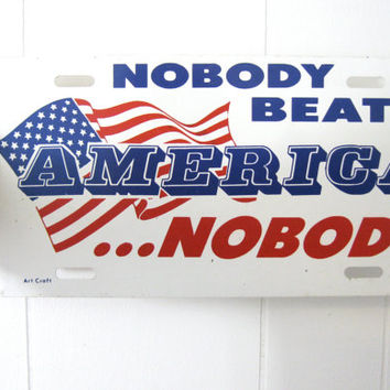 America Red White Blue Metal Vanity Plate Automobile Collectible