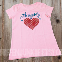 Pink Glitter Mermaid t-shirt for Girls, Mermaid at Heart Shirt, summer girls, Sparkling Glitter Baby Girl Mermaid Bodysuit, European Kids