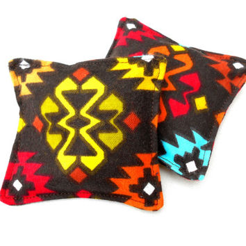 Southwestern Flannel Hand Warmers - Western Tribal Brown Yellow Blue Green Bright Reusable Rice Hand Warmers