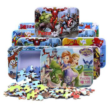 100pcs/set Wooden Puzzle with Iron Box Cartoon 3D Wood Puzzle Jigsaw wood toys for Children Early Educational Montessori Toys