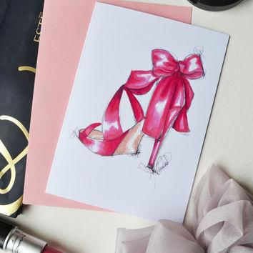 Fashion Card, Fashion Illustration,Fashion Print ,of original ,Christian Louboutin sho