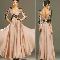 NEW Women Sexy V-Neck Lace Waist Backless Long Formal Bridesmaid Prom Gown Dress