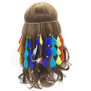 Colorful Women Bohemian Festival Feather Headband Female Fashion Hippie Headdress Elastic Knitted Belt Hair Accessories 2017 New