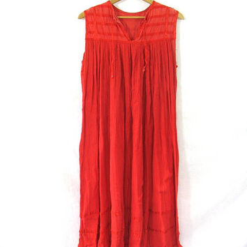 Vintage 70s Indian Dress. Festival Gypsy Dress. Ethnic Boho India Sun Dress. red Cotton Guaze dress