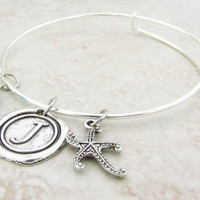Personalized Bracelet, Starfish Bracelet, Adjustable Charm Bracelet, Initial Bangle Bracelet