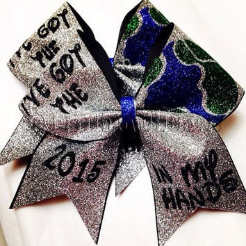 Handmade Big 3inch Cheerbow. I've got the world in my hands! Cheer Worlds Bow.