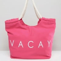 South Beach Pink Vacay Beach Bag at asos.com