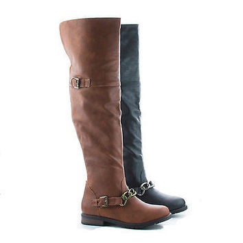 Kacy26 Chestnut By Bamboo, Round Toe Over Knee Chained Riding Boots