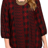 Black Red Plus Size Trendy Abstract Tribal Print Flowy Dressy Top