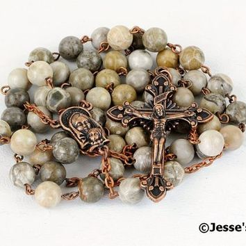 Catholic Rosary Beads Rustic Gray Green Yellow Fossil Coral Natural Stone Rustic Copper Traditional Rosary Five Decade Catholic Gift
