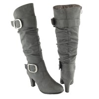 Women Slouchy Knee High Faux Suede High Heel Boots Gray Sz 5.5-10 buck