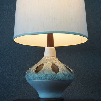 1960s Danish Modern Lamp // Pottery and Wood with Faux Bois Inlay // Vintage Midcentury Home Decor