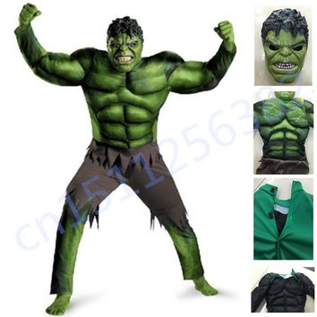 The Avengers Hulk Costume for boys Cosplay Halloween Costume for kids Carnival Clothes Children Gifts Fantasy Muscle Mask