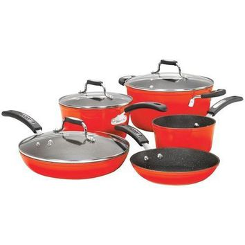 The Rock By Starfrit The Rock By Starfrit 8-piece Cookware Set With Bakelite Handles (red) (pack of 1 Ea)