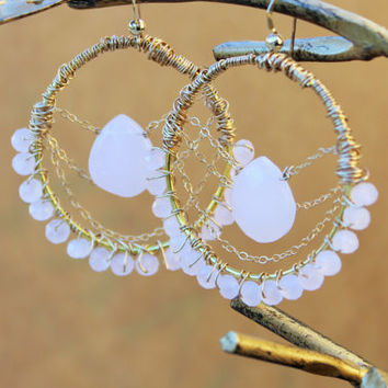 Pink and Gold Earrings, Bohemain Wire Wrapped Hoop Earrings with Pink Briolettes and Gold Chain, SALE