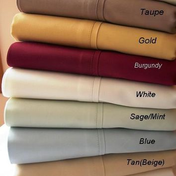 California King Solid 300 Thread count 100% Combed cotton Sheet sets